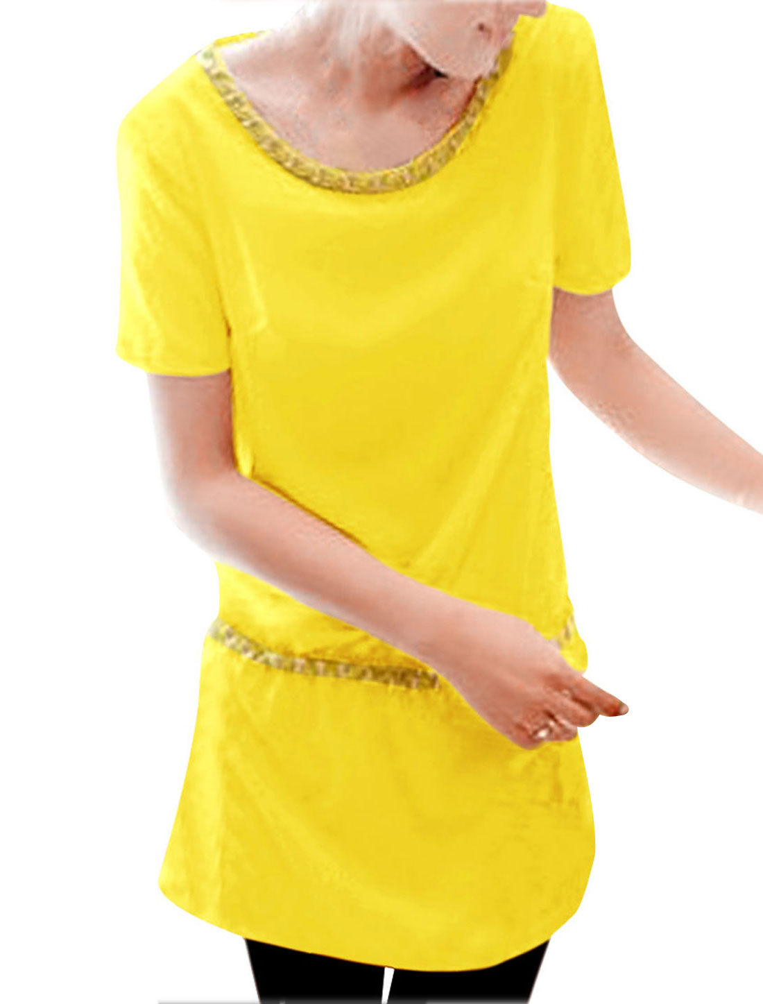 Women A Line Round Neck Drawstring Pockets Chic Dress Yellow S