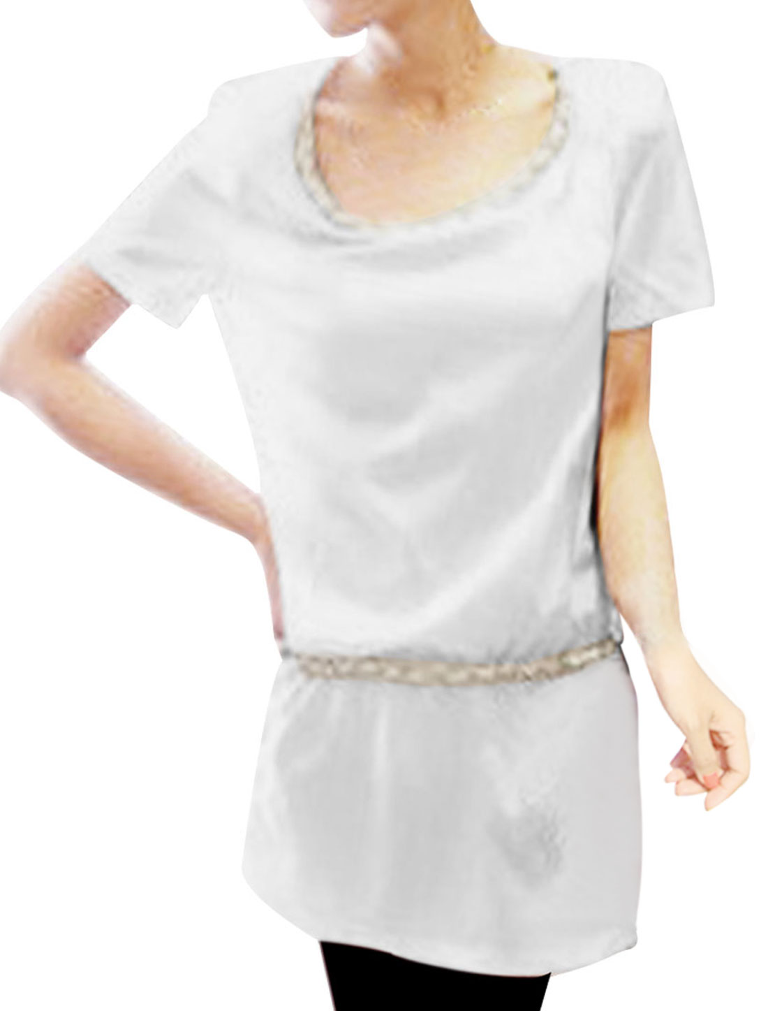 Lady Chains Decor Pockets Short-sleeved Loose Dress White S