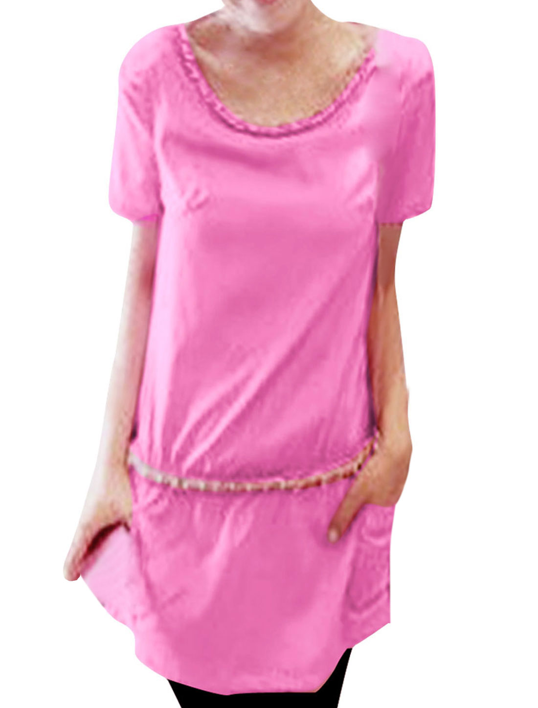 Ladies Round Neck Short Sleeves Chiffon Elegant Dress Fuchsia S