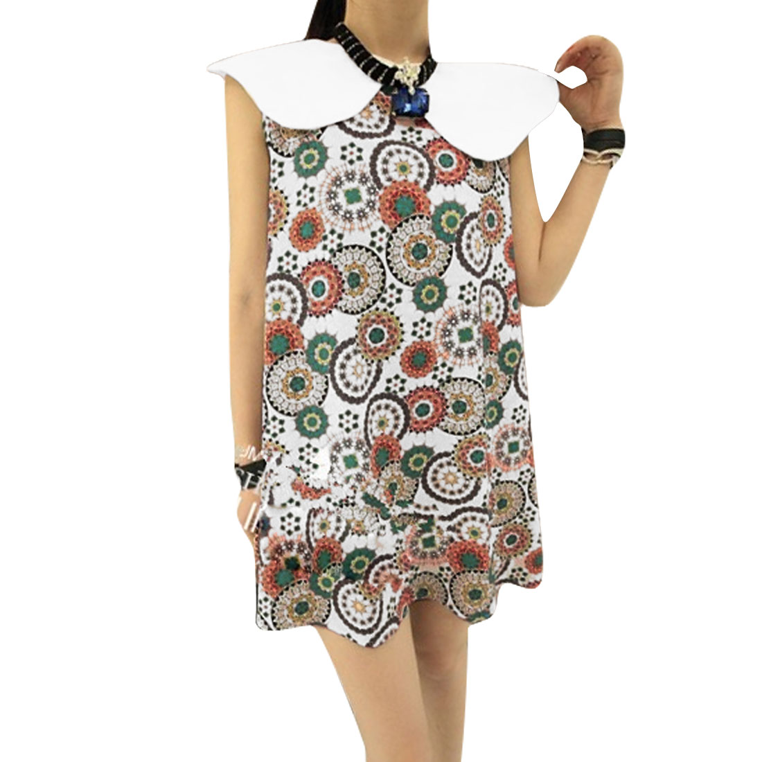 Lady Sleeveless Floral Pattern Lining White Green Loose Dress S