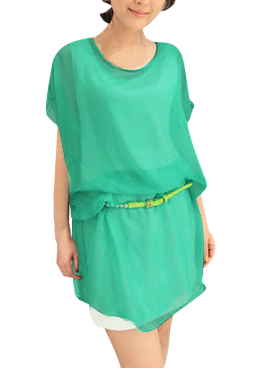 Ladies Above Knee Dipped Hem Chiffon Round Neck Dress Green XS