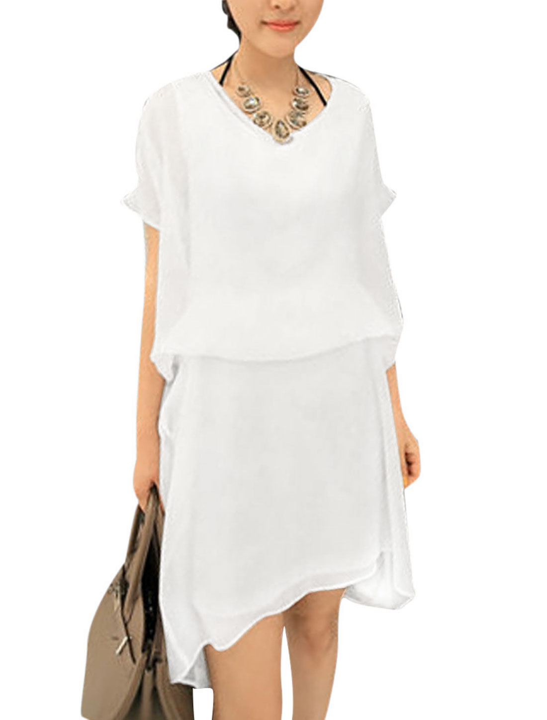 Ladies Splice Short Sleeves Fake Two Pieces Chic Dress White XS