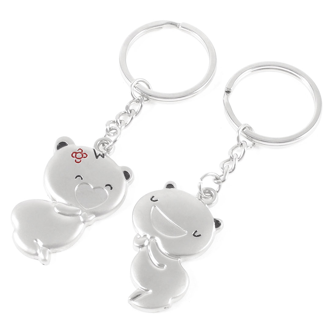 2 Pcs Metal Cartoon Pigs Pendant Keychain Silver Tone for Lovers Couple