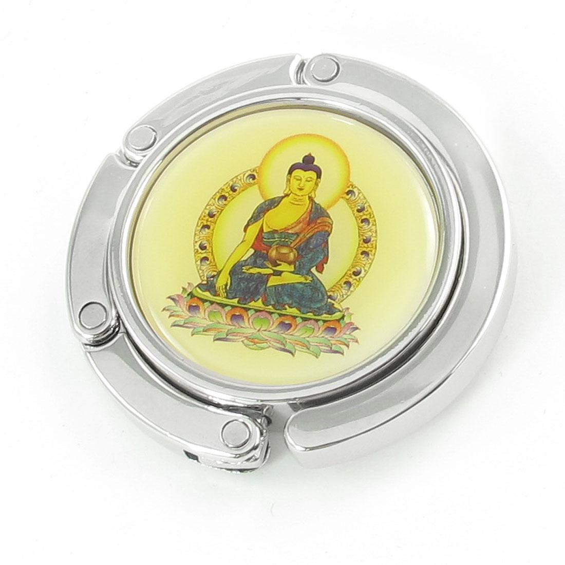 Yellow Plastic Dome Buddha Pattern Silver Tone Metal Hook Handbag Hanger