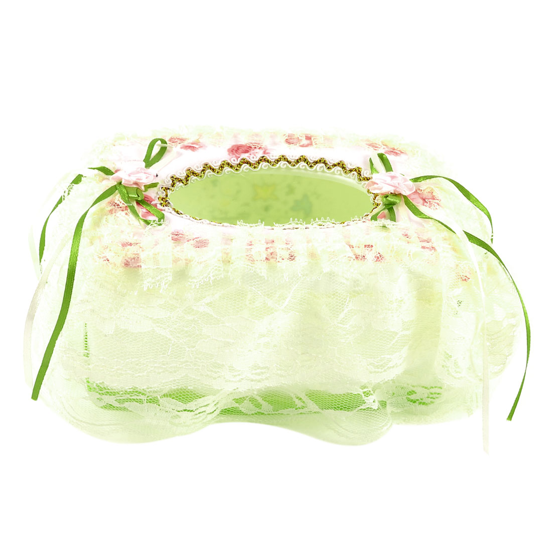 Pink Floral Detail Pale Yellow Lace Coated Rctangle White Green Tissue Box Case