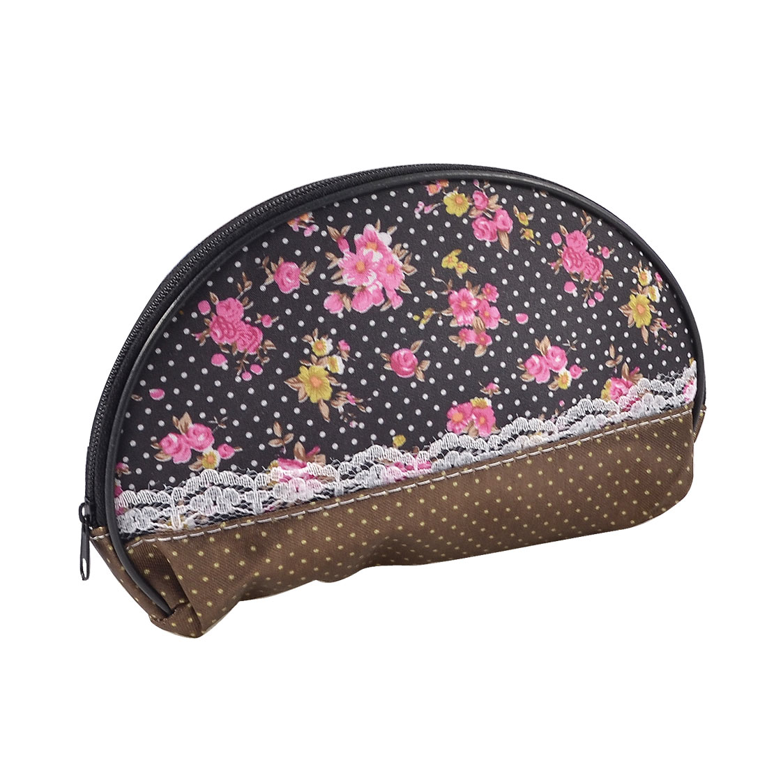 Lady White Dotted Pink Flower Pattern Black Makeup Bag Cosmetic Purse Black Brown