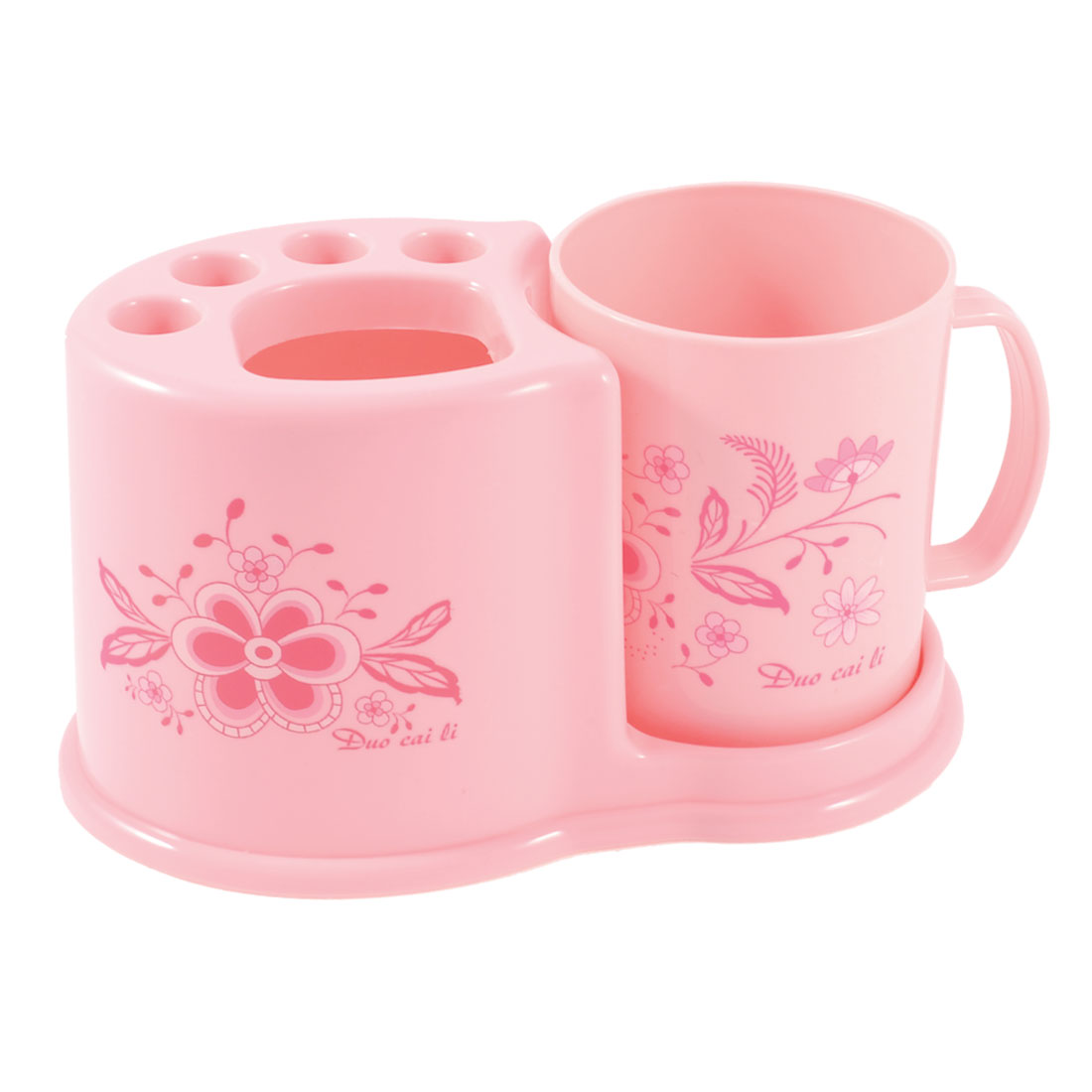 Flower Pattern Pink Toothbrush Toothpaste Plasctic Container Holder w Cup
