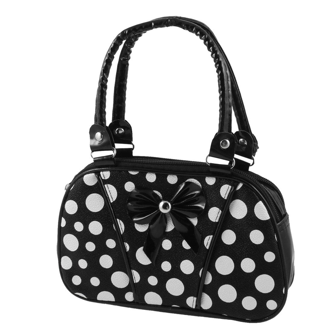 Lady Dot Pattern Black White 2 Compartment Faux Leather Zipper Closure Change Purse Handbag