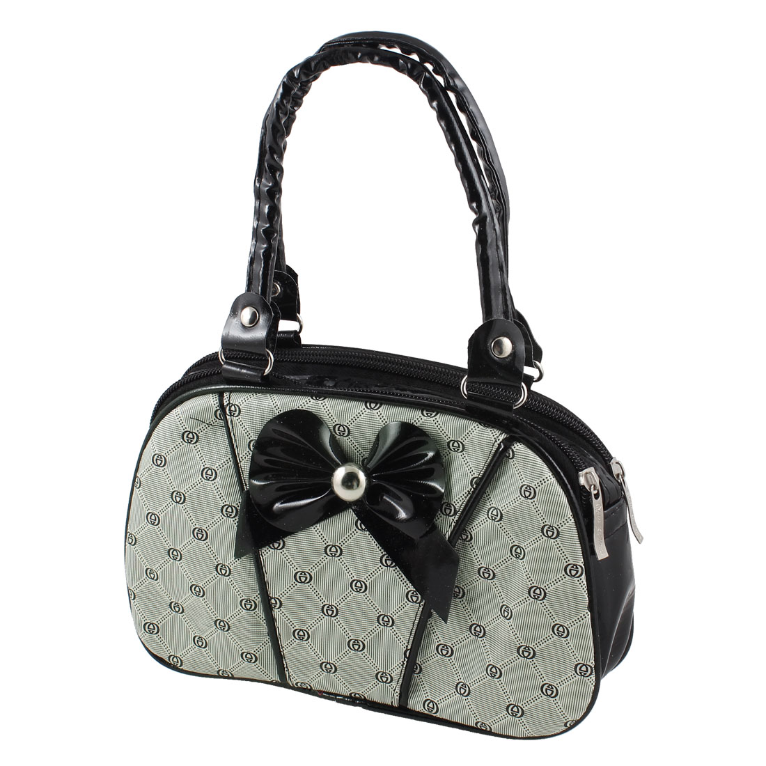 Black White 2 Compartment Rhombus Print Zippered Rectangle Handbag Bag for Lady