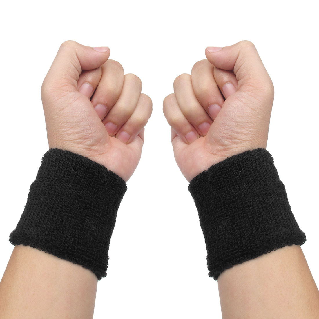 2 Pcs Black Terry Elastic Fabric Sports Wrist Protective Band