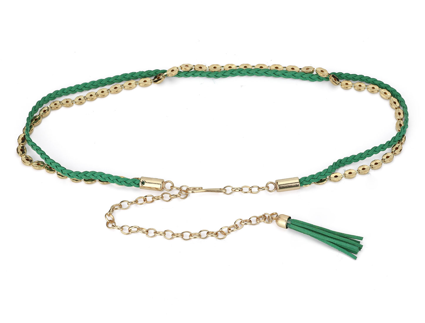 Green Gold Tone Metal Rolo Link Chain Waist Belt for Girls