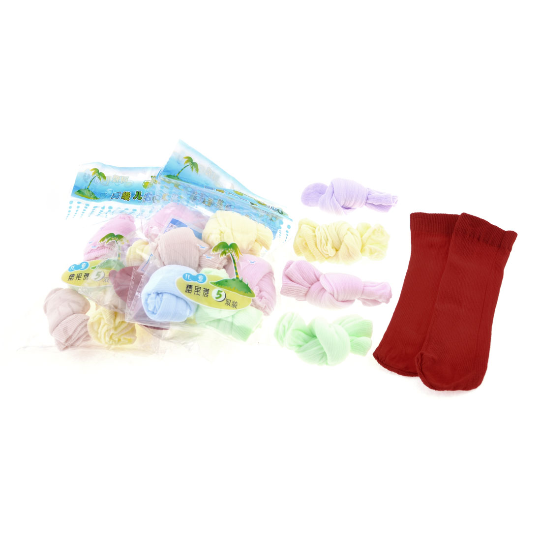 20 Pairs Terylene Spandex Elastic Colorful Candy Socks for Kids