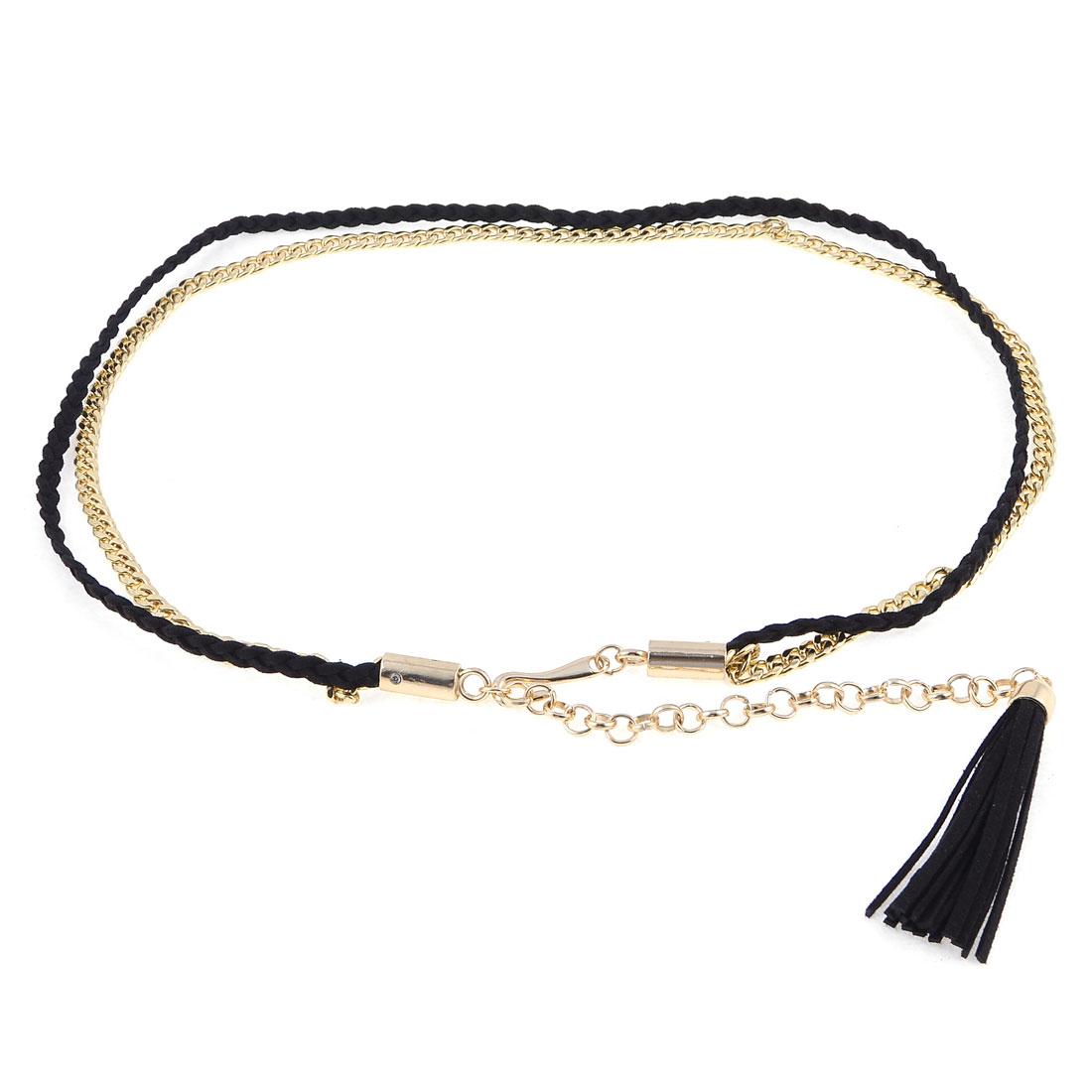 Black Faux Leather Tassels Gold Tone Metal Rolo Chain Belt