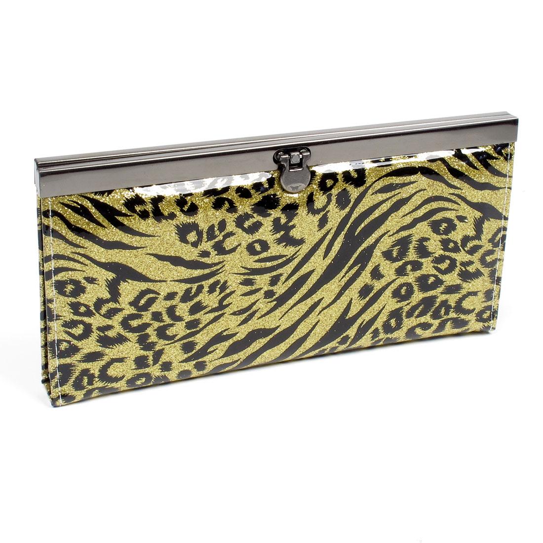 Flip Lock Closure Leopard Print Yellow Black Purse for Women