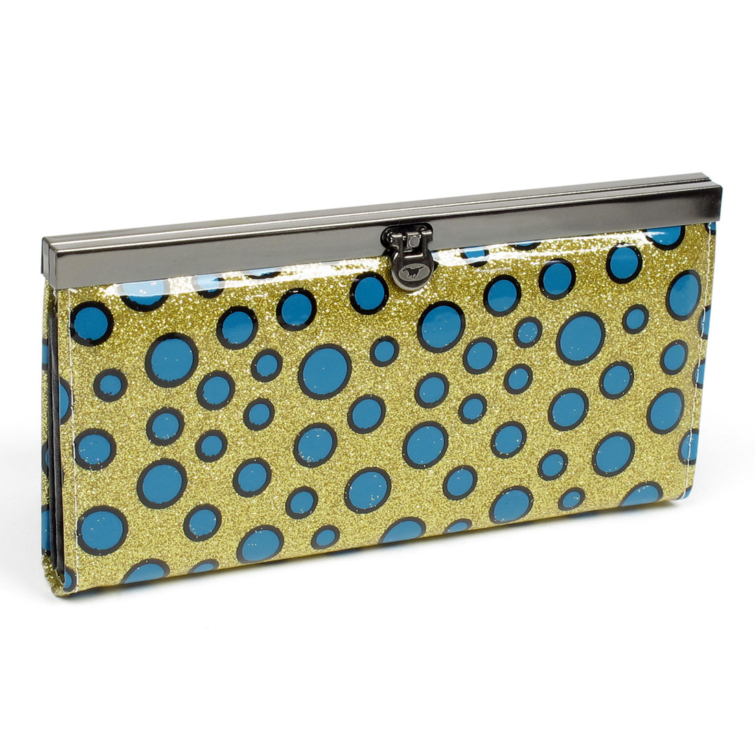 Yellow Glittering Powder Blue Dots Pattern Buckle Closure Purse