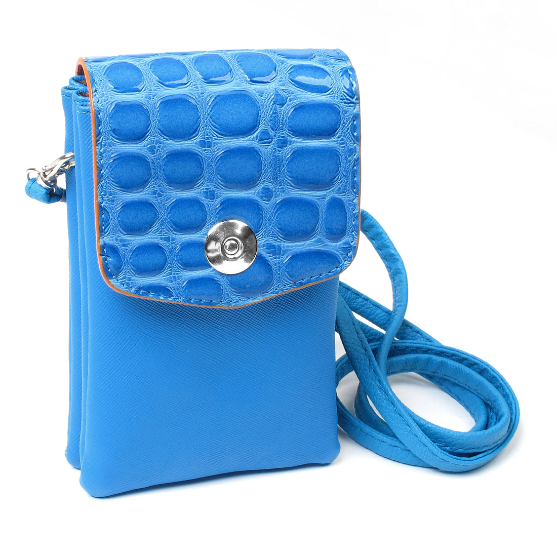 Blue Faux Leather Crocodile Lychee Pattern Cell Phone Bag
