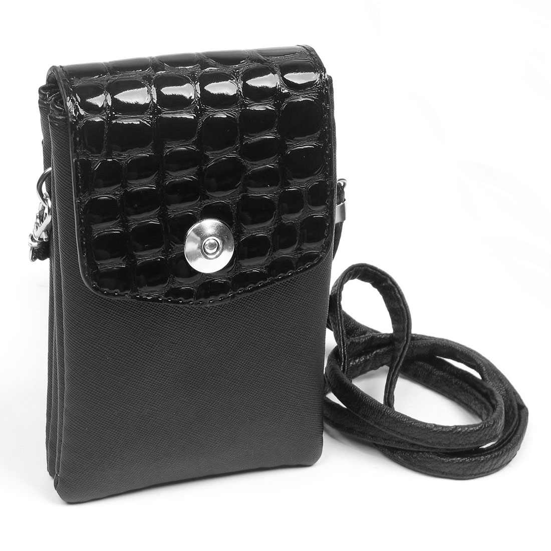 Black Magnetic Button Closure Faux Leather Cell Phone Bag