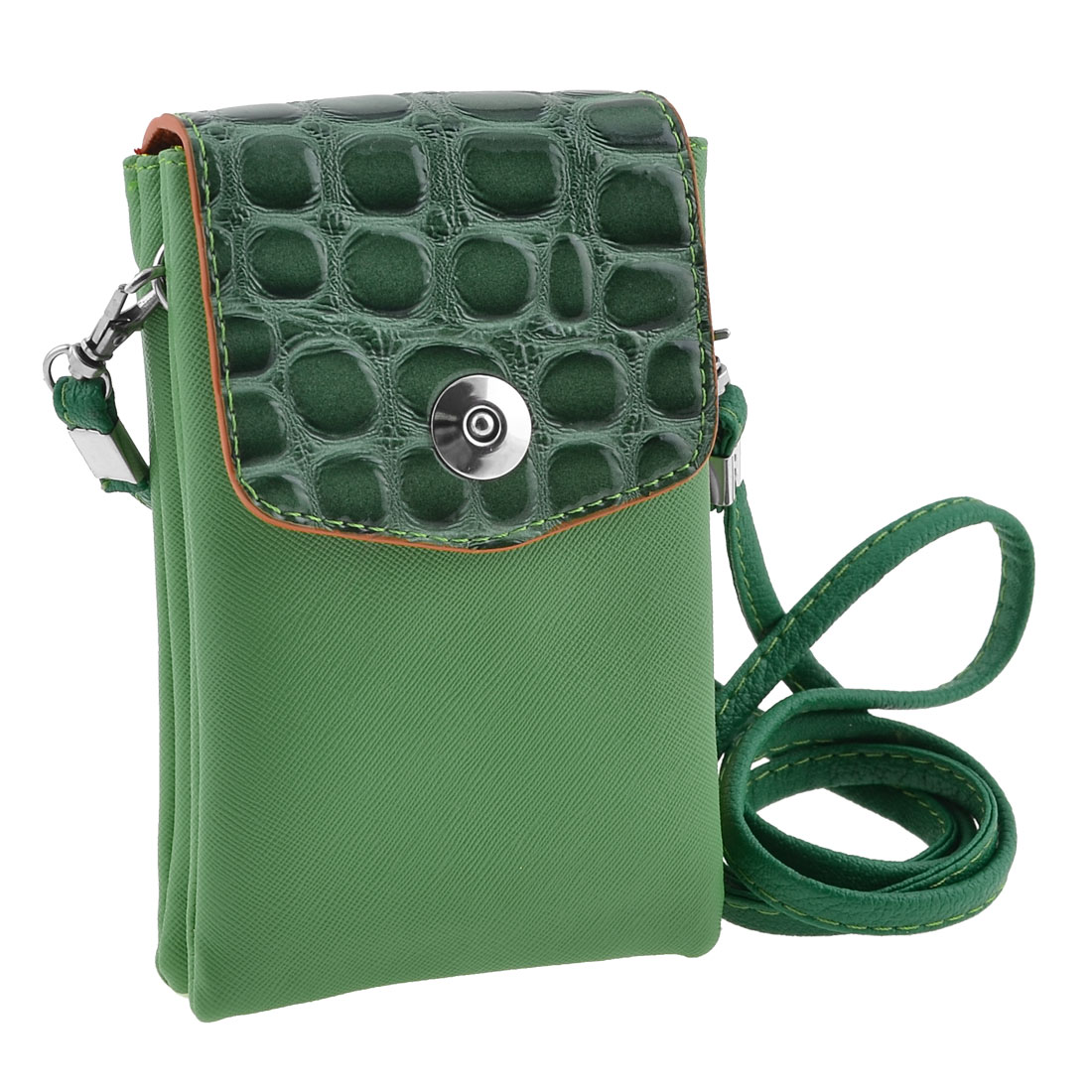 Green Magnetic Button Double Pockets Cell Phone Bag for Girls