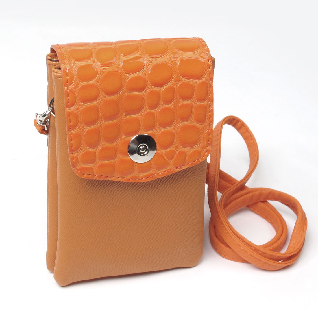 Orange Magnetic Button Crocodile Pattern Cell Phone Bag