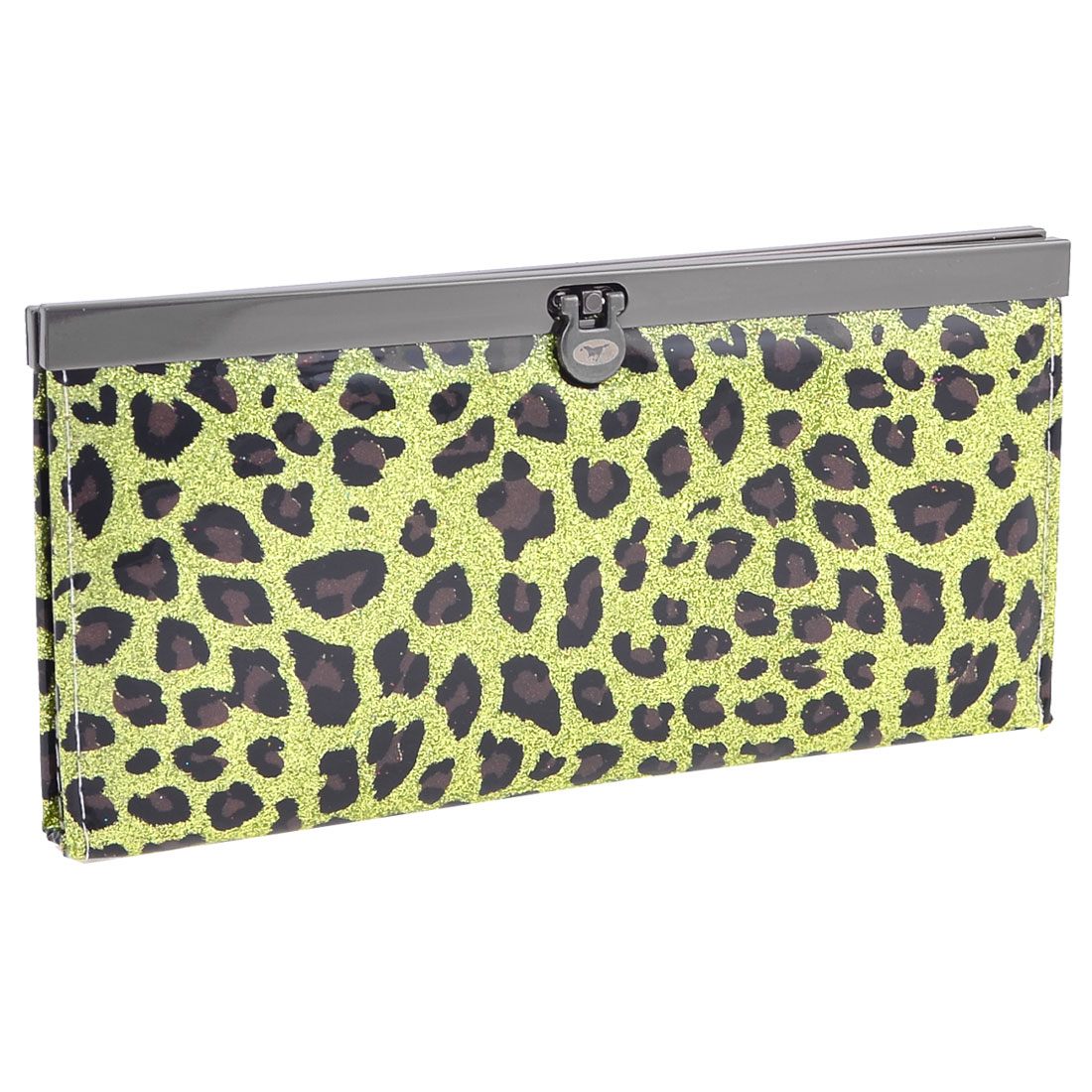 Leopard Pattern Green Glittering Powder Four Layers Purse