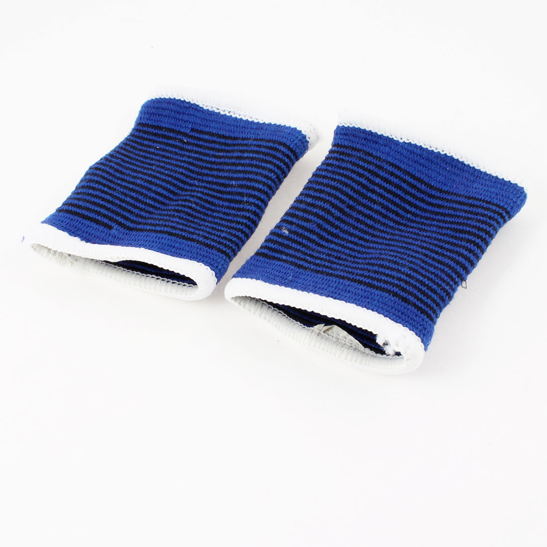 Pair Blue Black Striped White Hem Stretchy Wrist Support Brace Gear