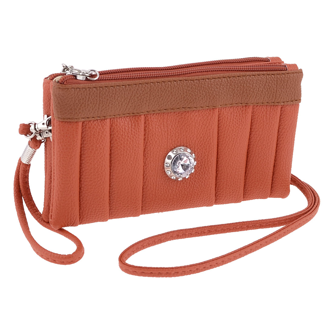Orange Faux Leather Lychee Pattern Rhinestone Decor Handbag for Ladies