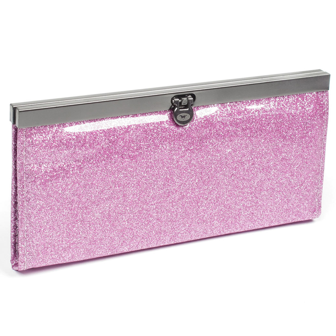 Women Pink Glittering Powder Faux Leather Nylon Lining Purse