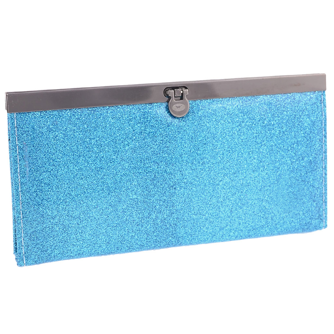 Blue Glittering Powder Metal Buckle Closure Nylon Lining Purse