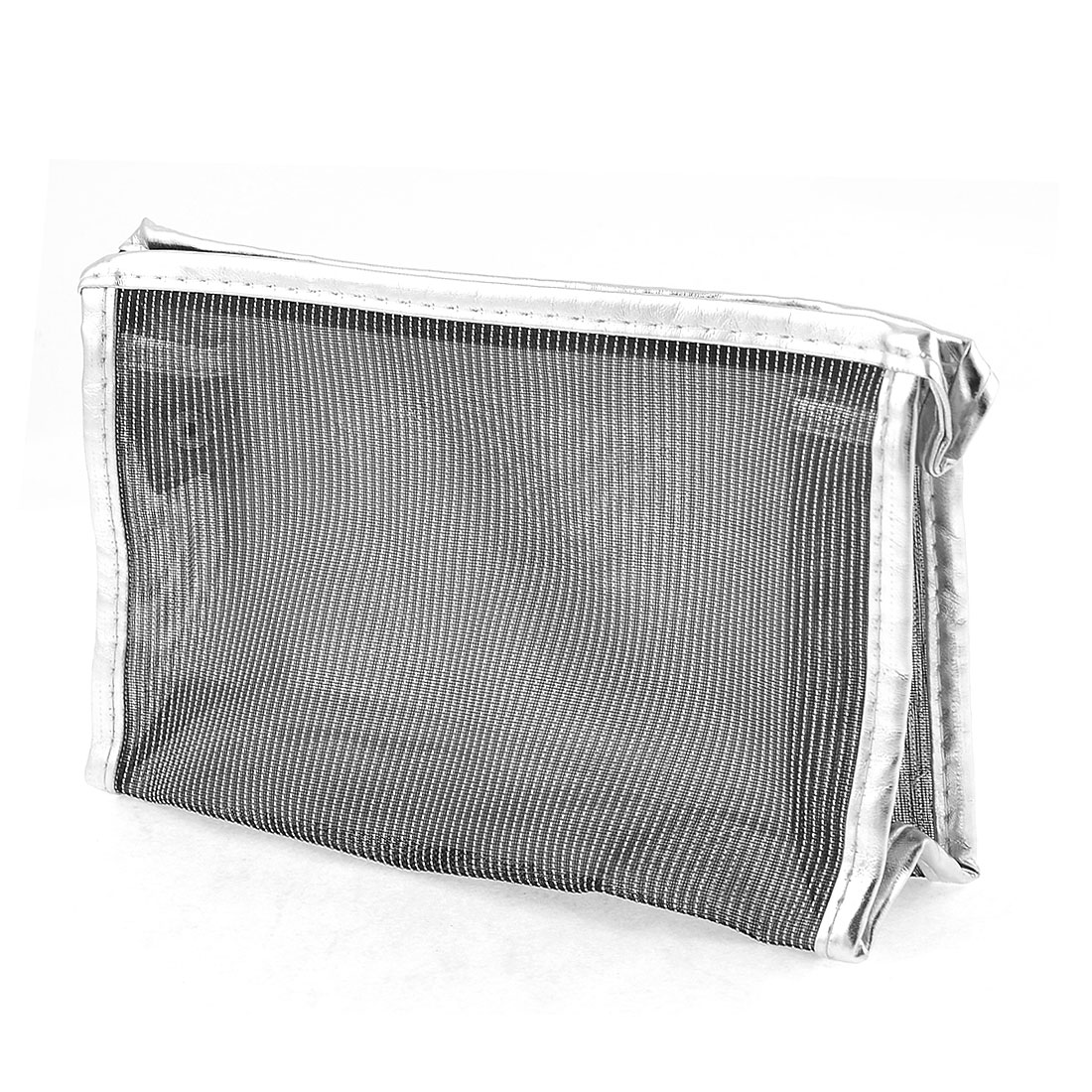 Silver Tone Black Mesh Clear Plastic Lining Waterproof Cosmetic Bag