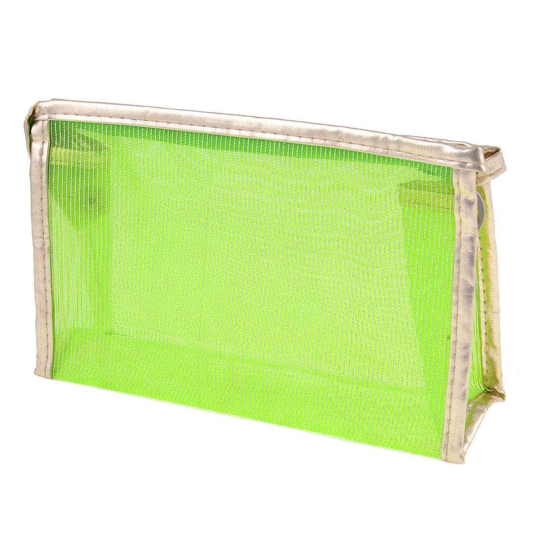 Silver Tone Green Mesh Clear Plastic Lining Zip Lock Makeup Bag