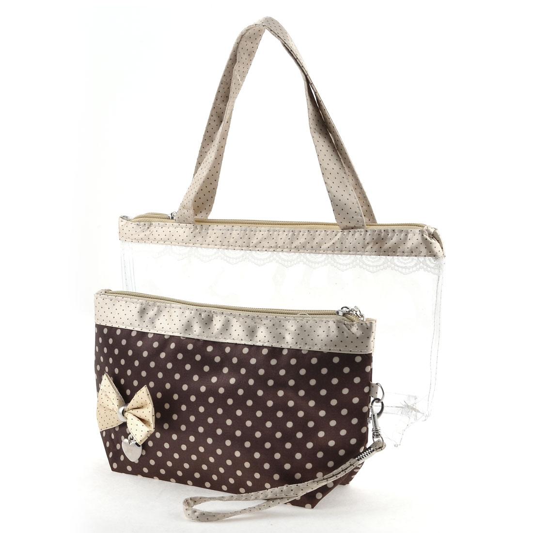 Dark Brown Light Yellow Dots Pattern Lobster Clasp Lanyard Makeup Bag