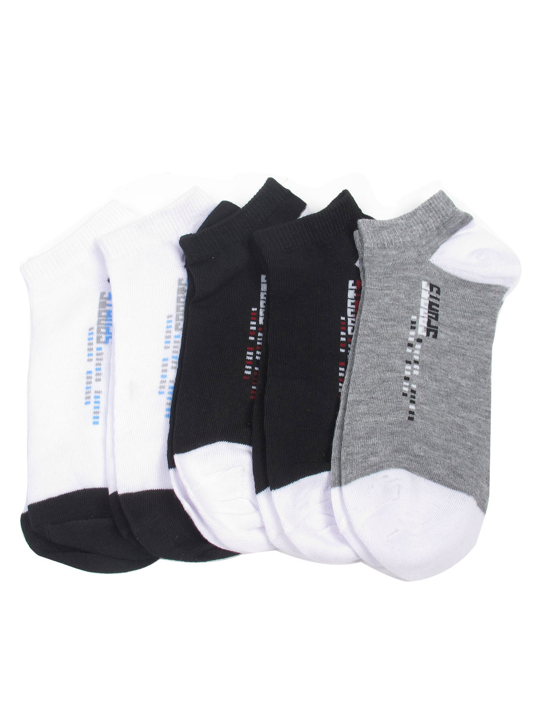 5 Pairs Cotton Polyester Spandex Sports Short Socks for Men