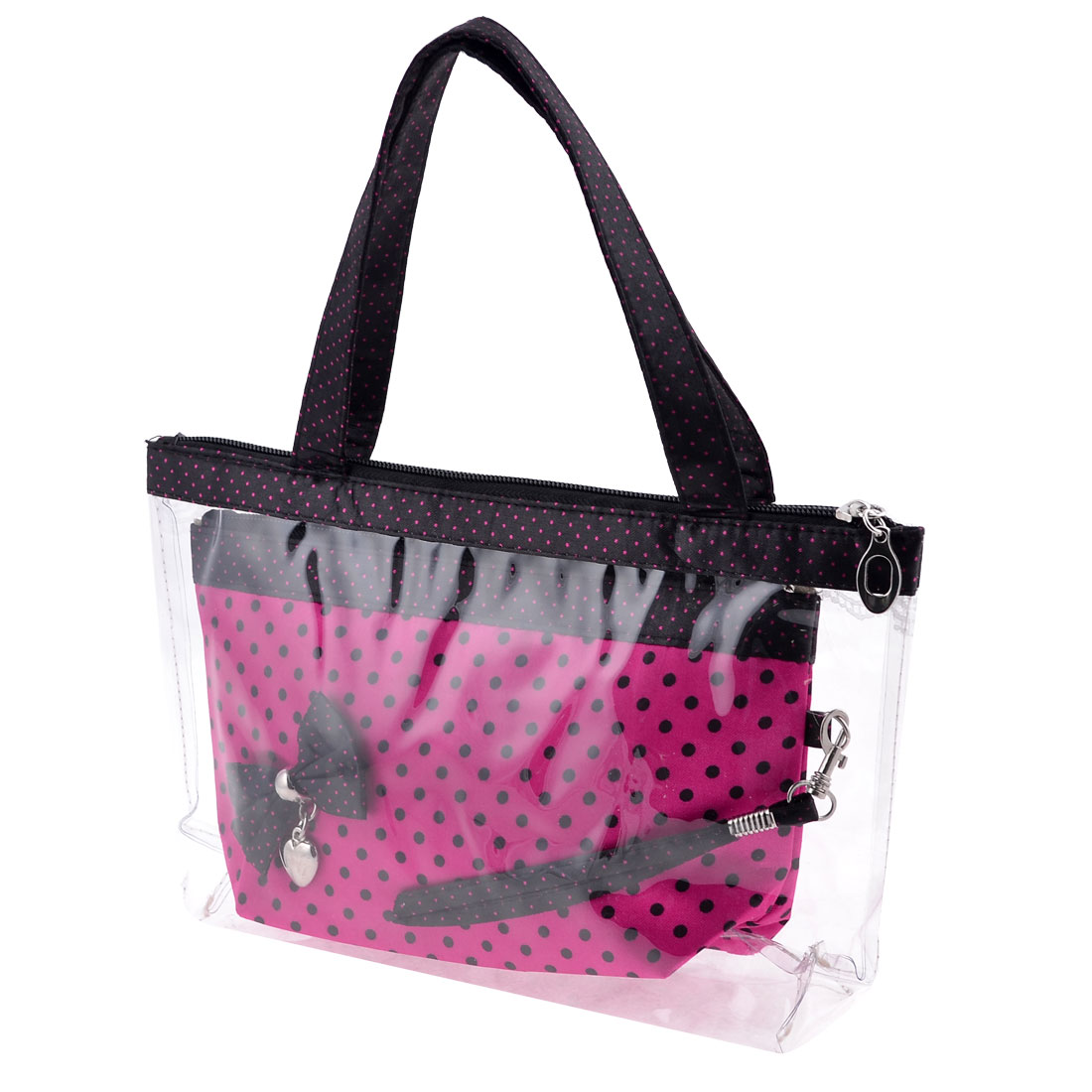 Plastic Nylon 2 in 1 Fuchsia Black Dots Pattern Makeup Bag