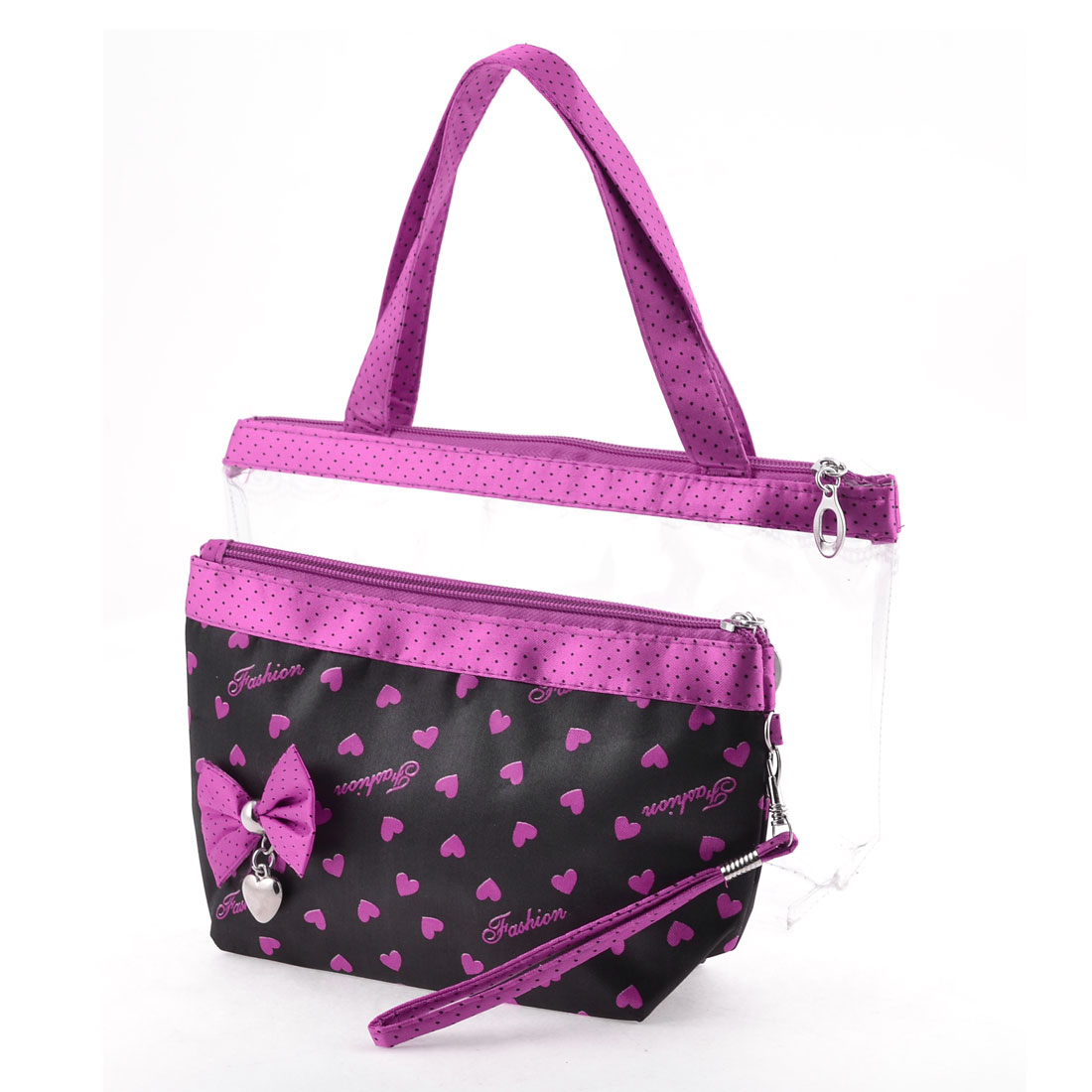 Fuchsia Hearts Pattern Clear Plastic Zipper Closure Makeup Bag 2 in 1