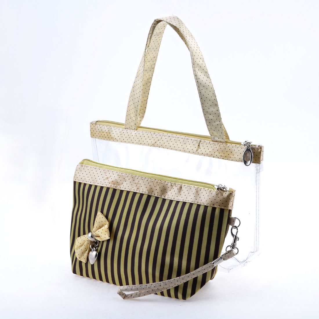Light Yellow Black Stripe Pattern 2 in 1 Zipper Closure Makeup Bag