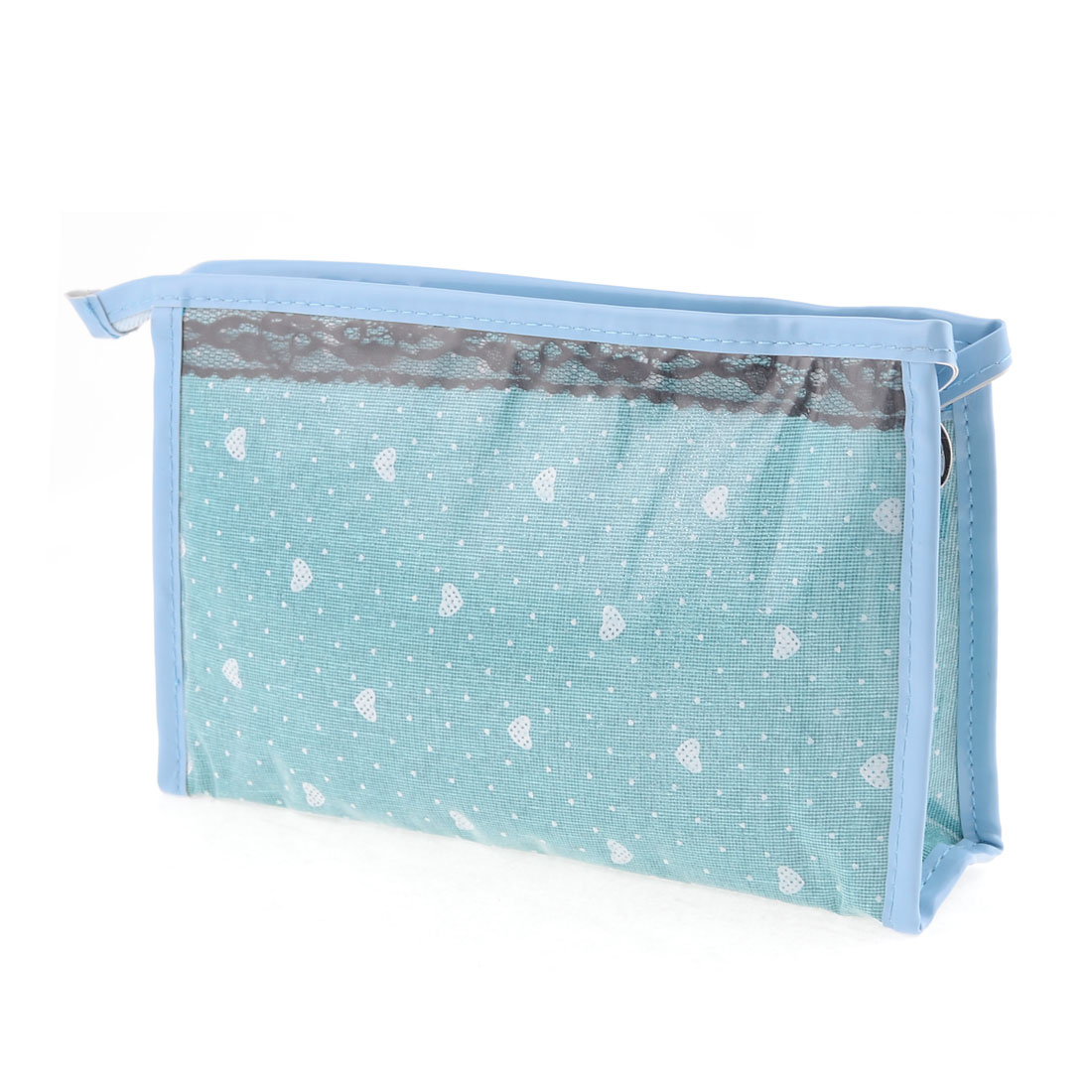 Bluish Green White Hearts Pattern Clear Plastic Waterproof Makeup Bag