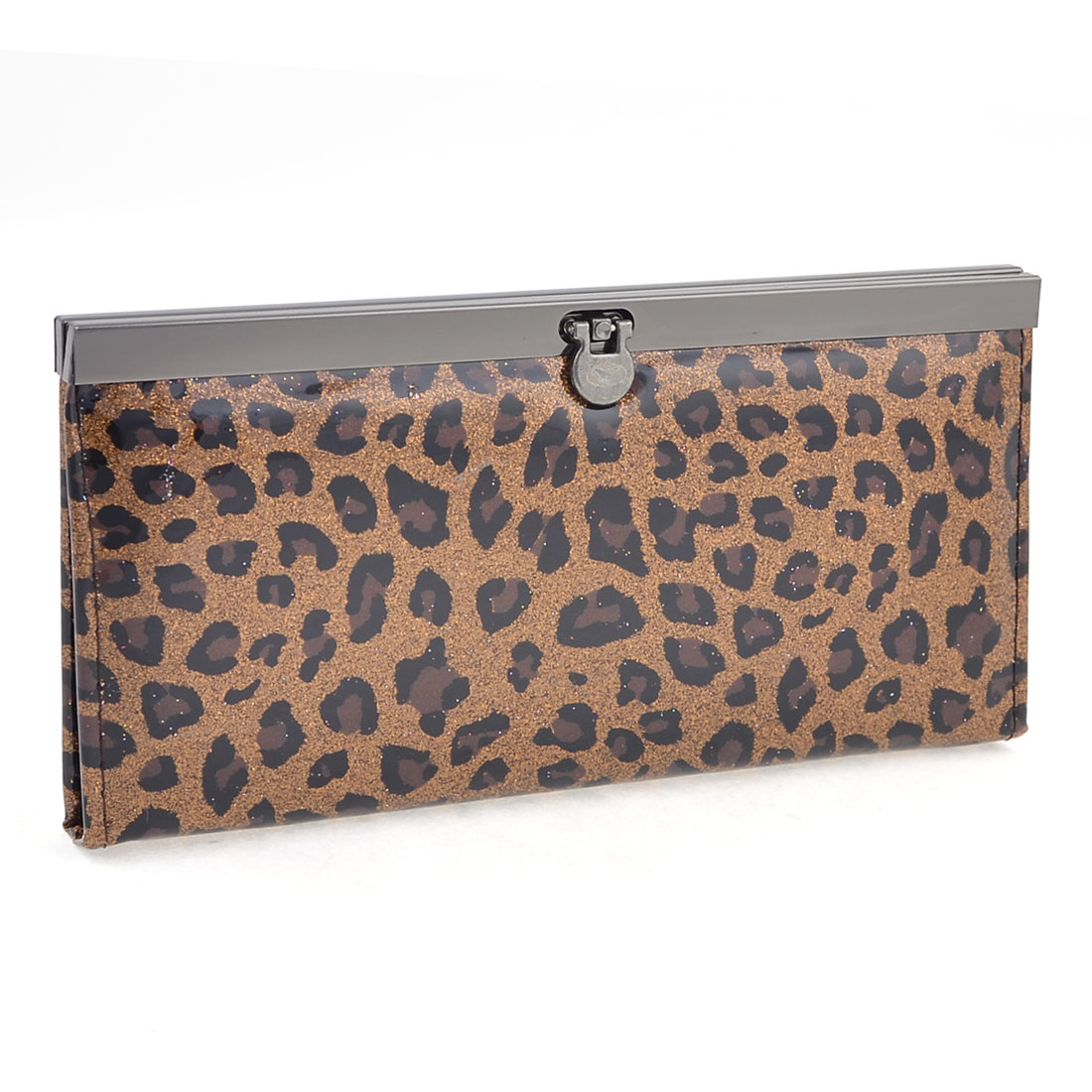 Dark Brown Glittering Powder Leopard Pattern Purse for Ladies