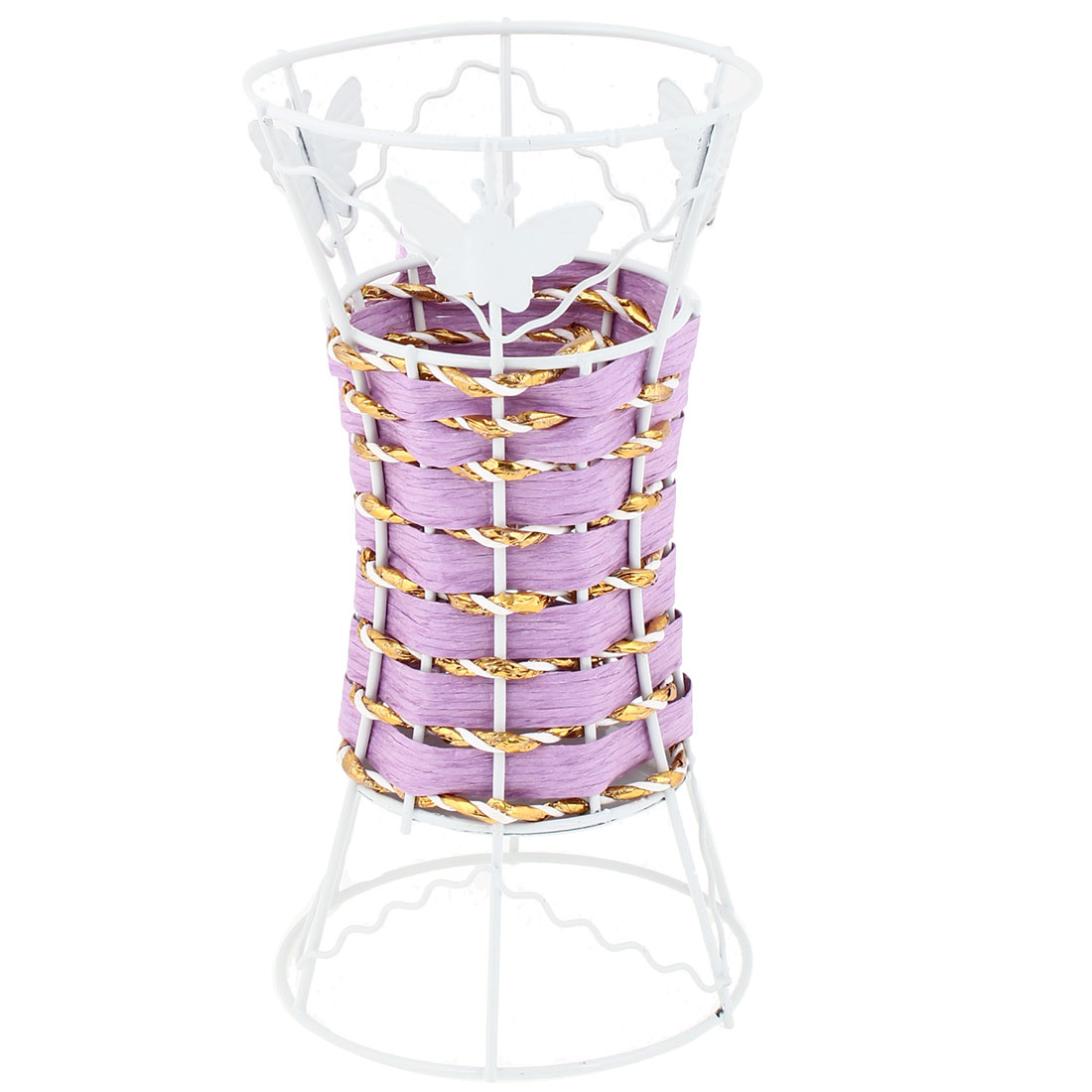 Office Light Purple White Butterfly Decor Vase Pencil Eraser Basket Holder