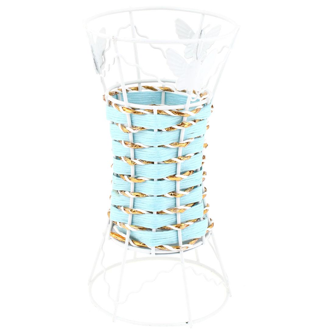 Househlod Butterfly Decoration Light Blue Sundries Storage Vase Basket Holder