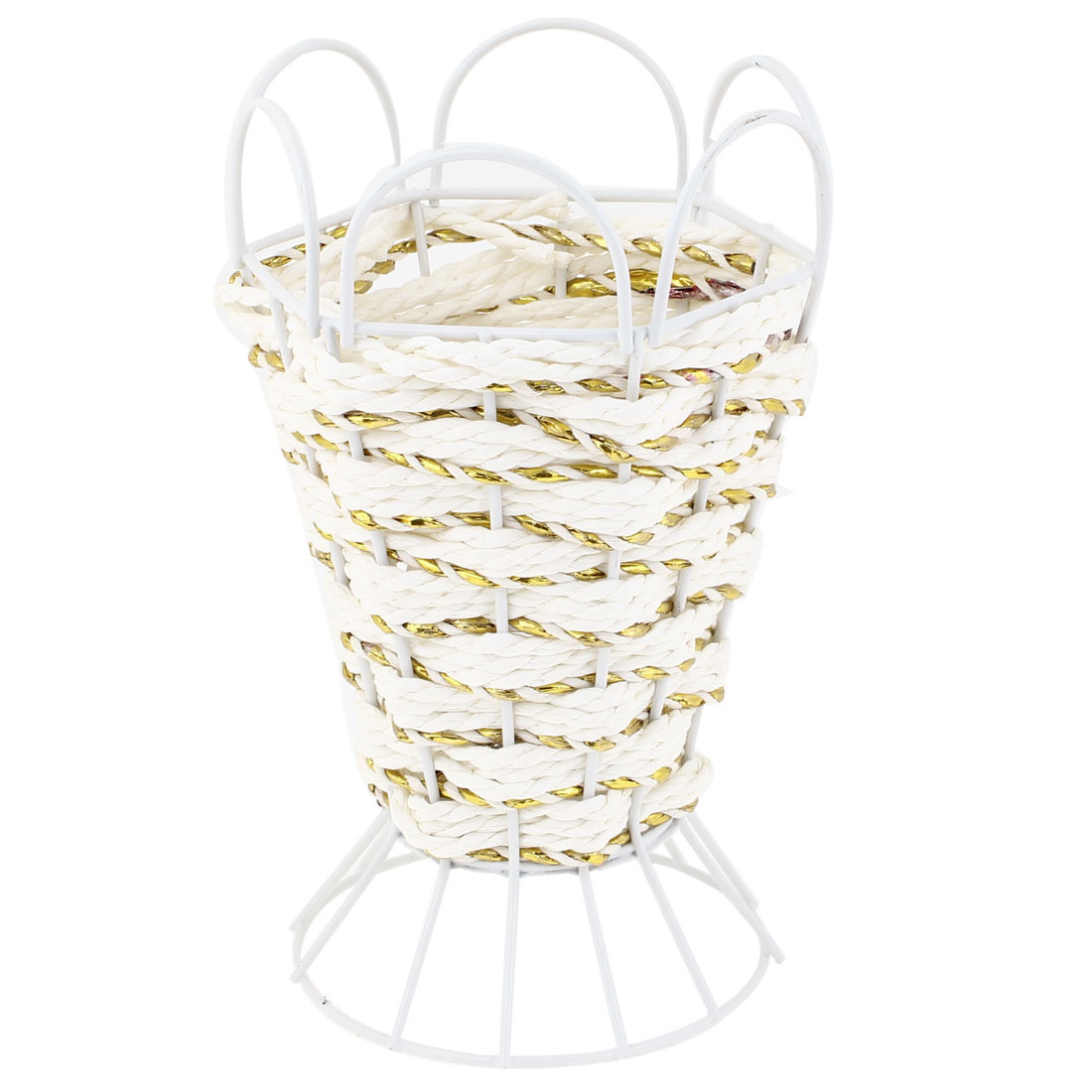 Household Pure Handmade Paper String Vase Sundries Storage Basket Holder White