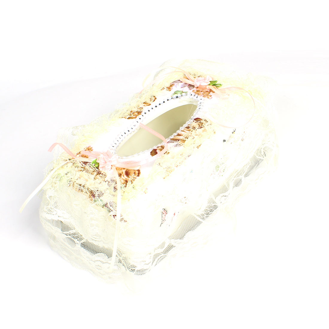 Flower Print Lace Rim Detachable Bottom Rectangle Tissue Box Beige White