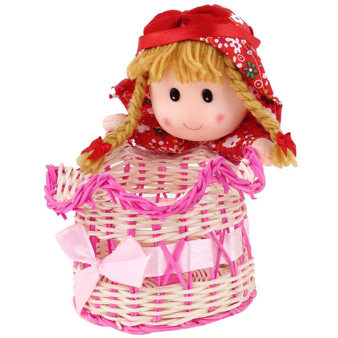 Home Fuchsia Pale Yellow Bamboo Doll Decor Vase Pen Cell Phone Basket Holder