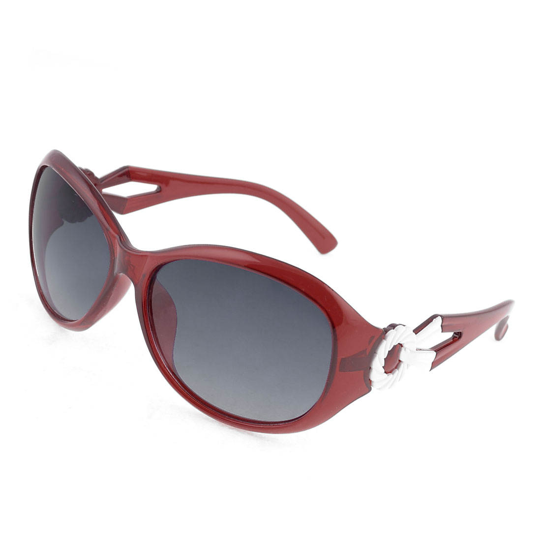 Burgundy Plastic Arms Full Rim Wreath Decor Sunglasses for Women
