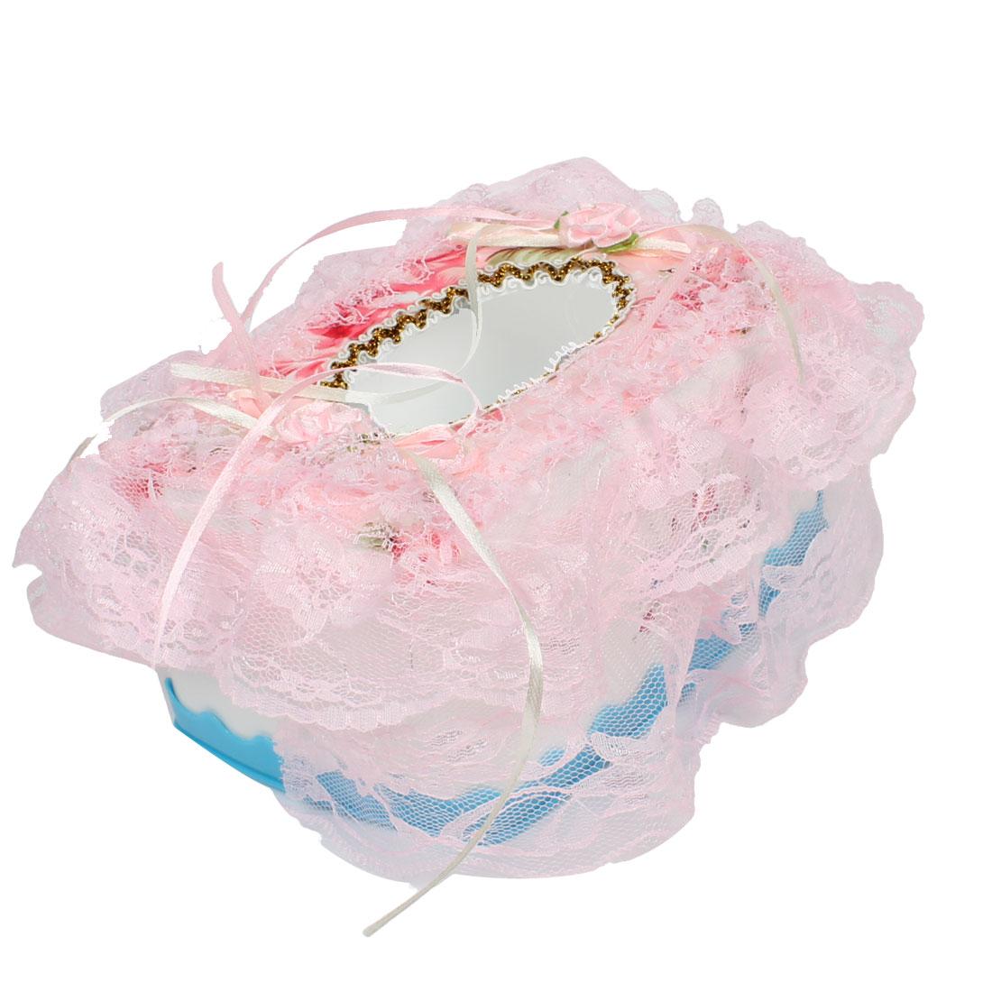 Pink Lace Rim Two Ribbon Flower Decoration Rectangle Tissue Box Case