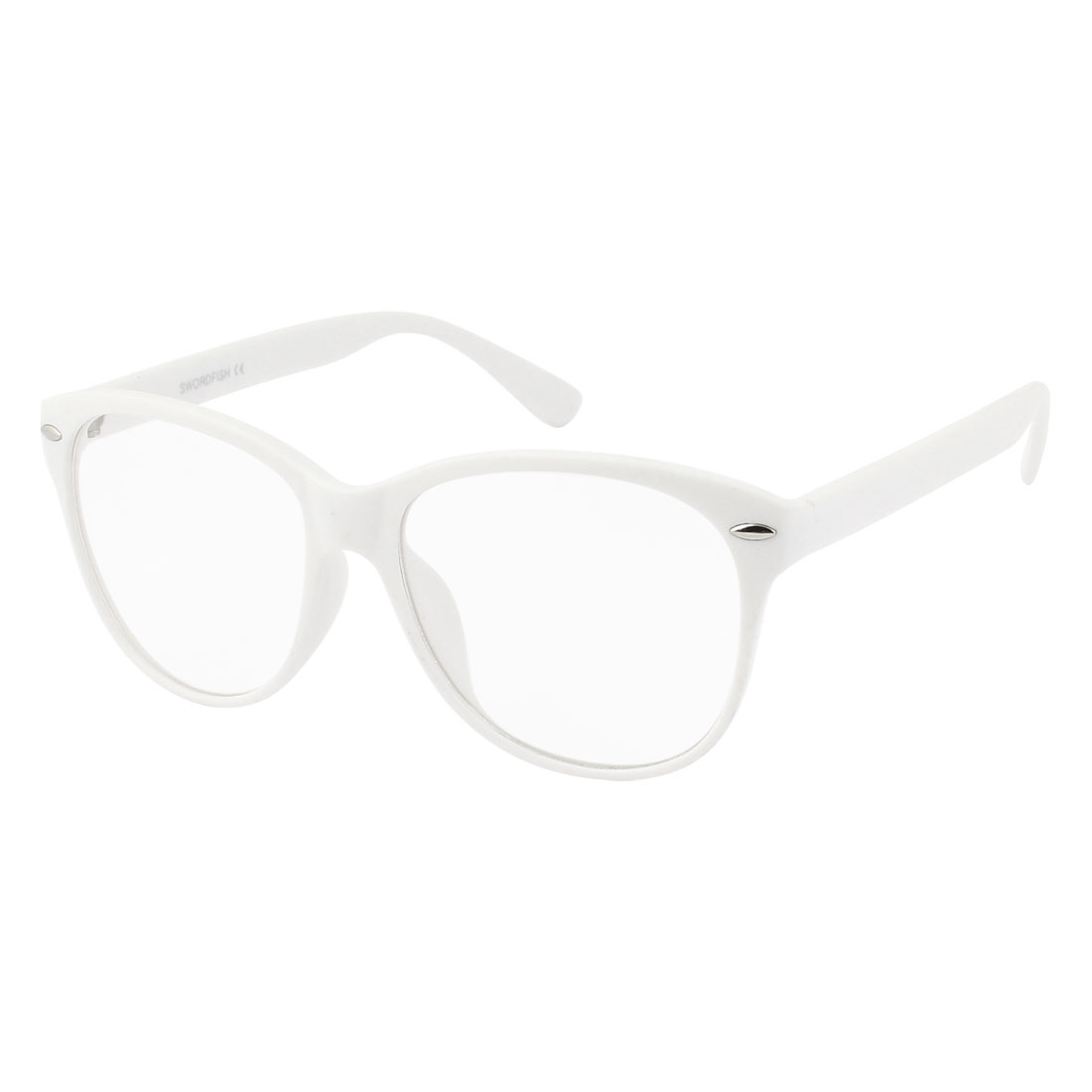 Lady Gentleman Plastic White Full Rim Frame Clear Lens Plain Glasses