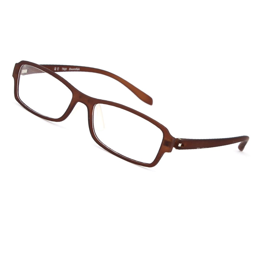 Plastic Chocolate Color Full Rim Frame Clear Lens Plano Glasses for Ladies Men