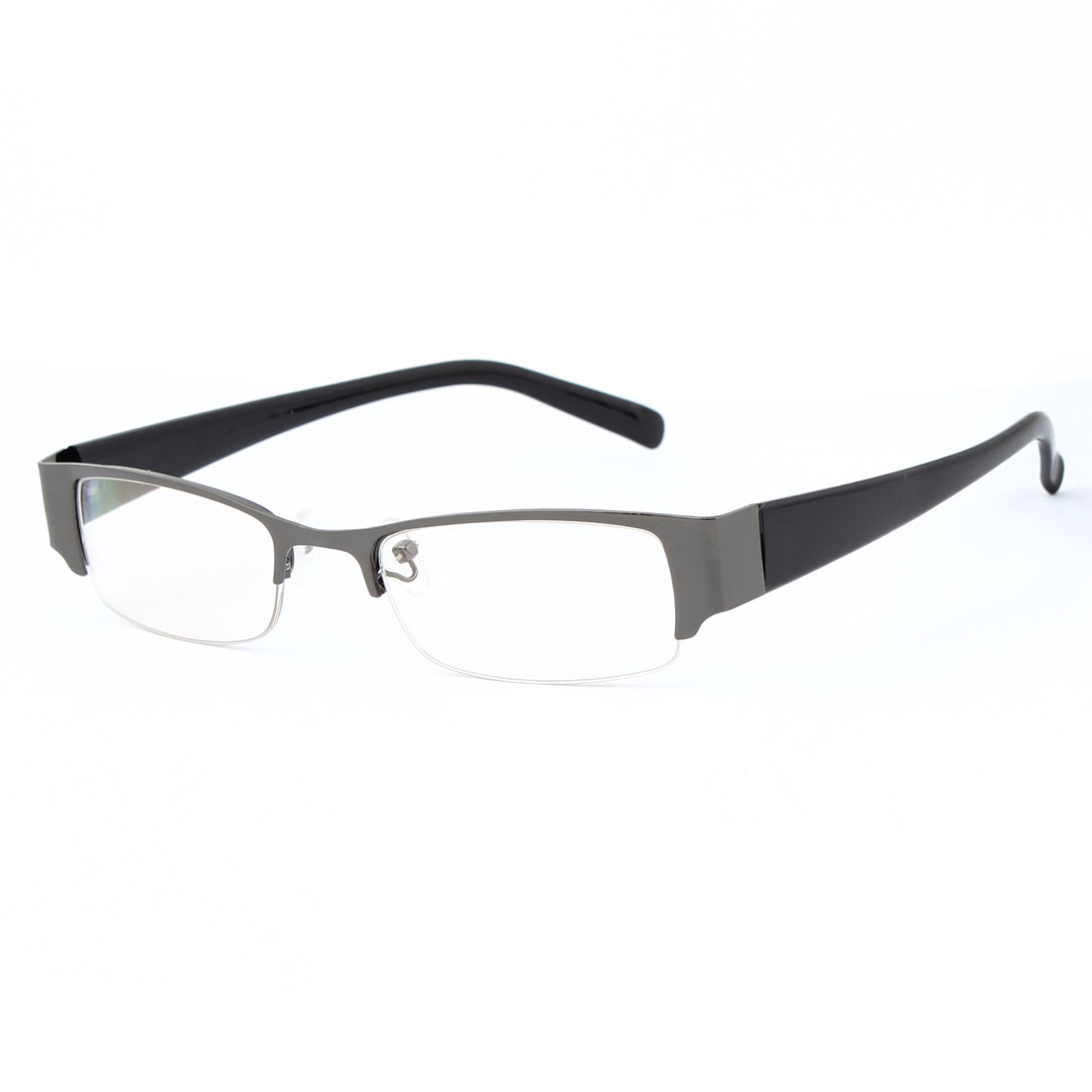Unisex Plastic Black Rectangle Half Rim Frame Multi Coated Lens Plain Glasses