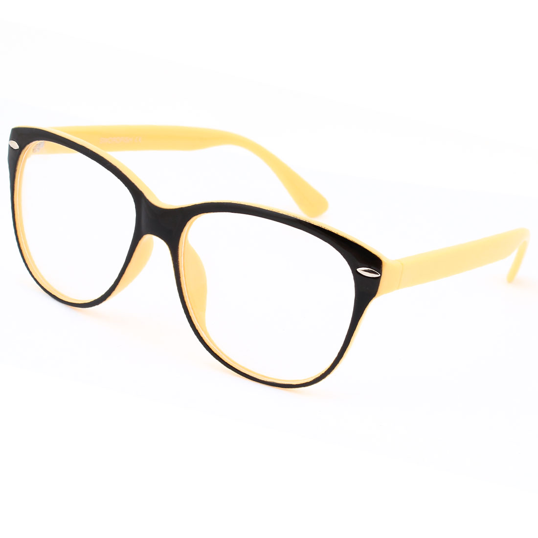 Woman Yellow Arms Plastic Black Full Frame Clear Lens Plain Eyeglasses