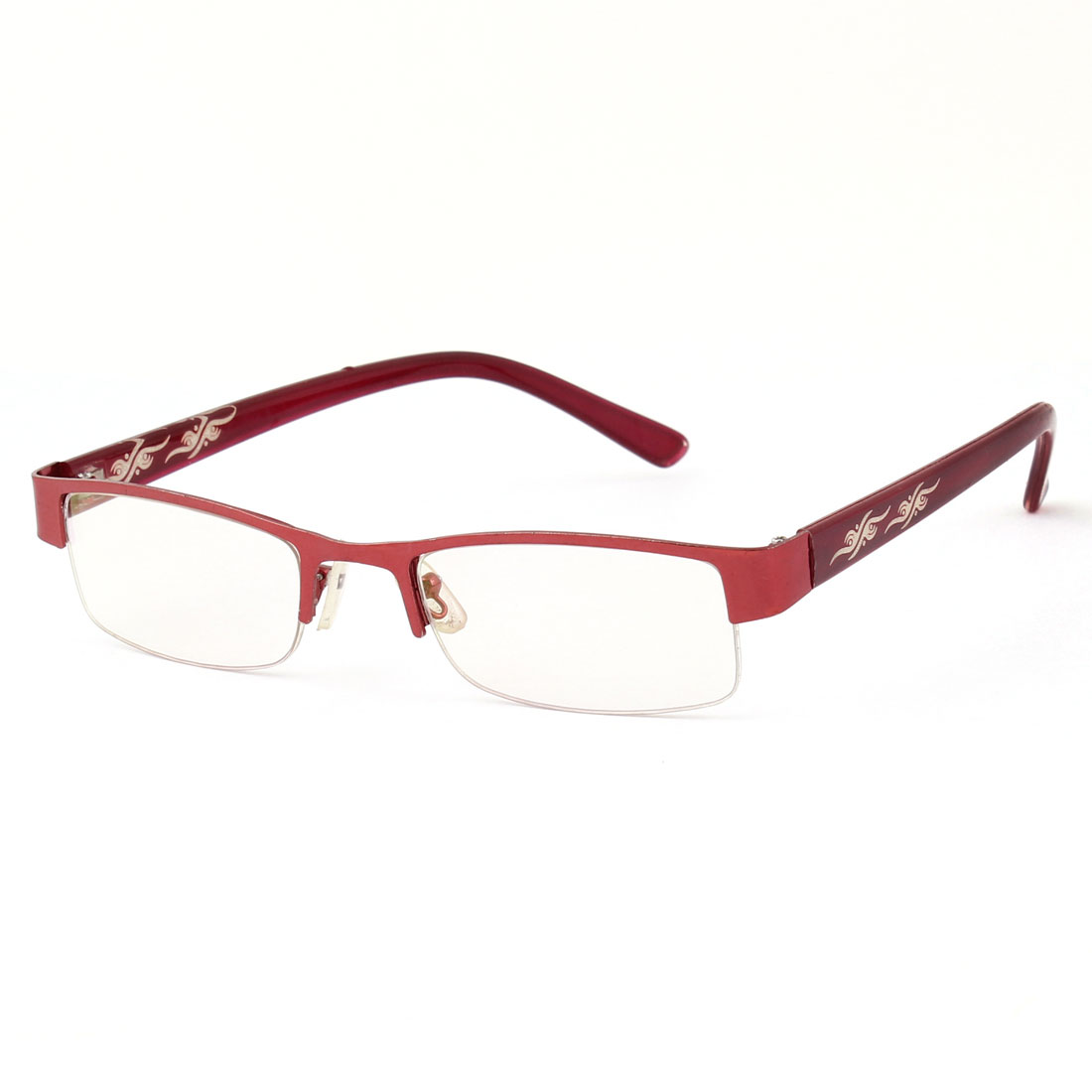Unisex Plastic Dark Red Rectangle Half Frame MC Lens Plano Eyeglasses