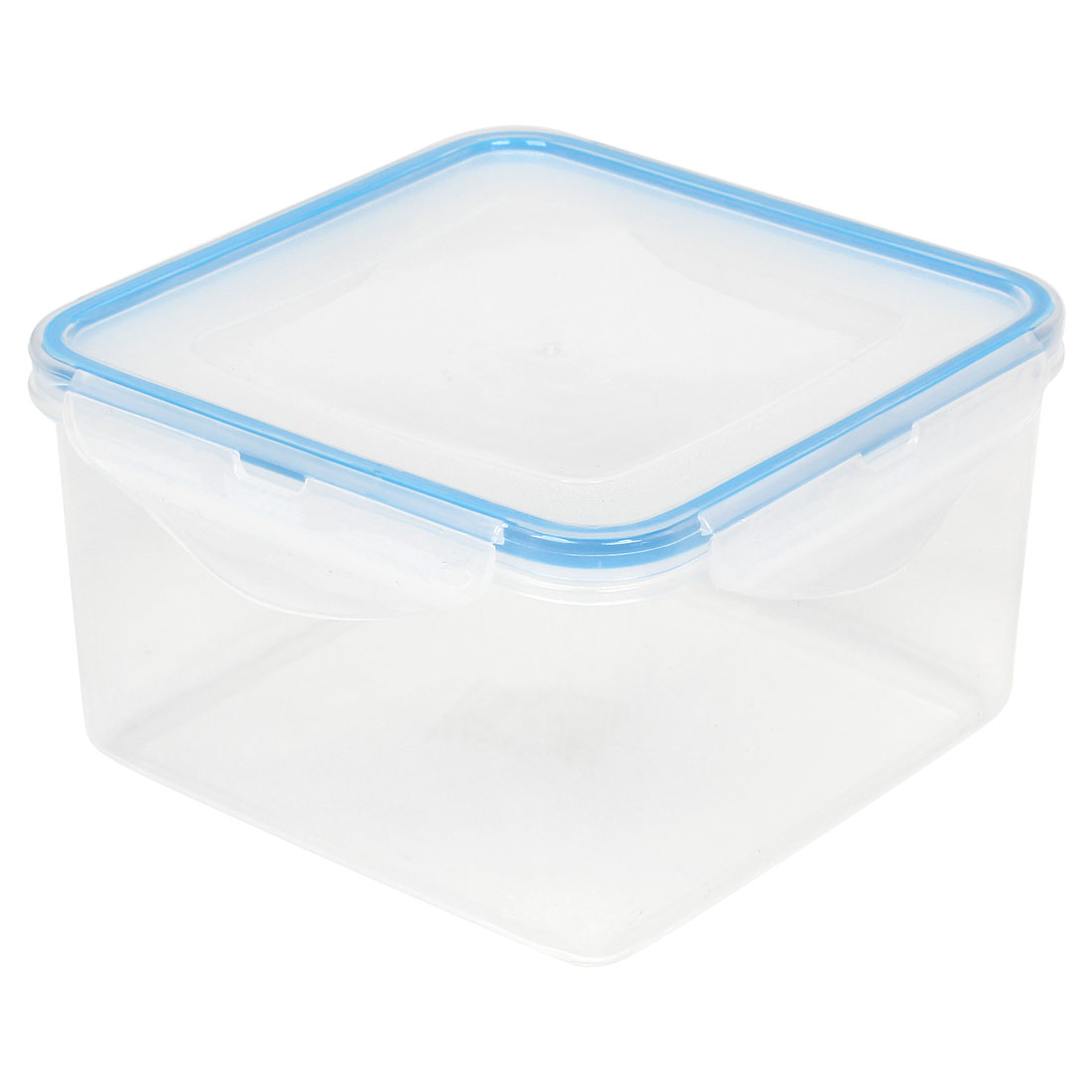White Blue Squar Shaped Plastic Snack Lunch Box Dinner Bucket